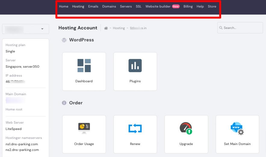 hostinger interface
