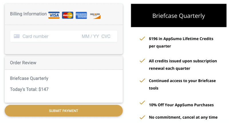 appsumo briefcase homepage payment