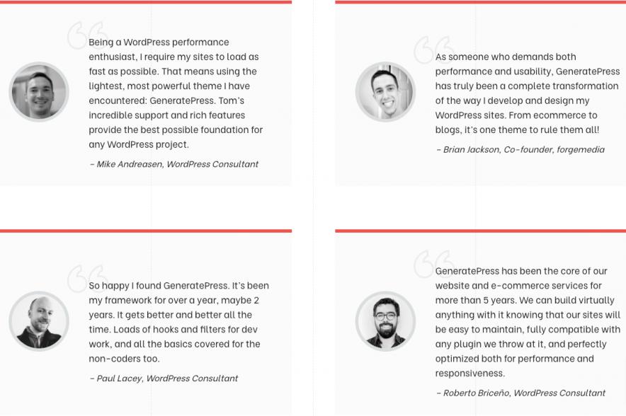 generatepress testimonials