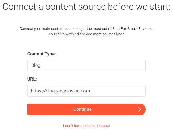 sendfox connect content source