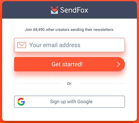 sendfox signup