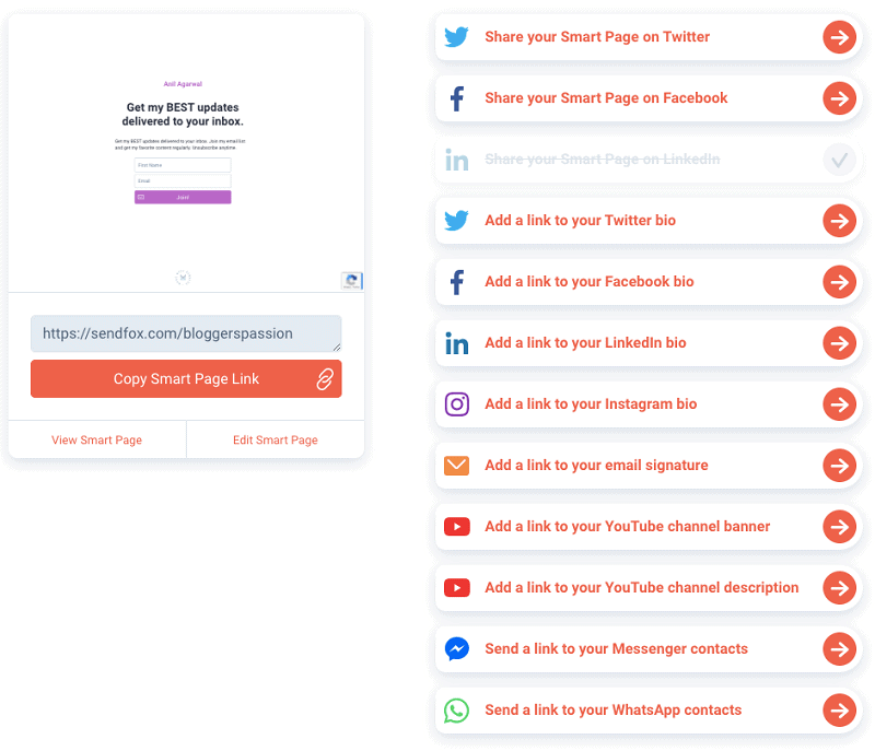 sendfox smart pages promotions