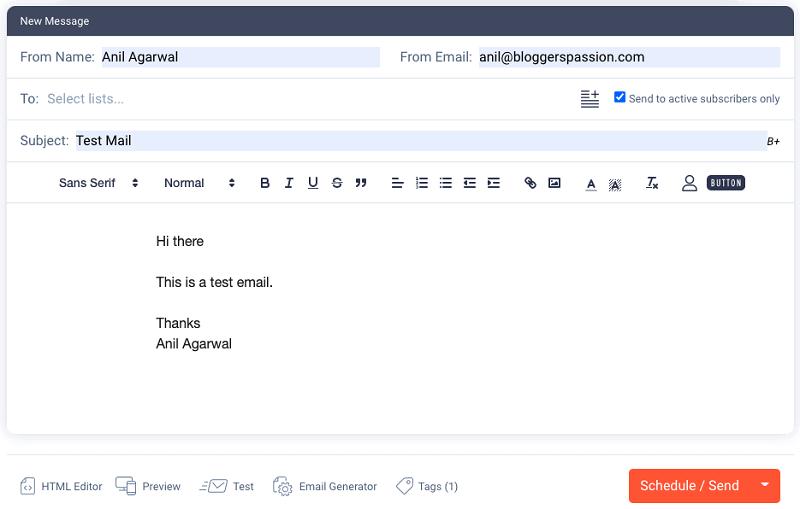 sendfox mail composing